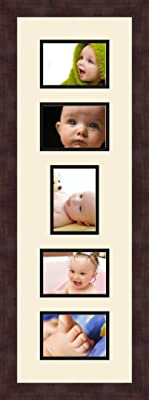 Art to Frames Double-Multimat-449-88//89-FRBW26061 Collage Frame Photo Mat Double Mat with 5-3.5x5 Openings and Espresso Frame