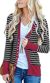 Womens Long Sleeve V Neck Striped Knit Kimono Cardigan Casual Snap Cardigan Sweater