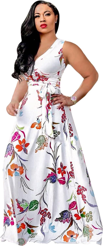 Runwind Womens Plus Size Maxi Dress -V Neck Sleeveless Printed Wrap Maxi Dresses