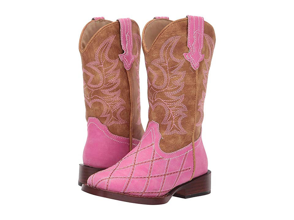 Roper Kids Crosscut (Toddler/Little Kid) (Diamond Checked Pink Vamp) Cowboy Boots