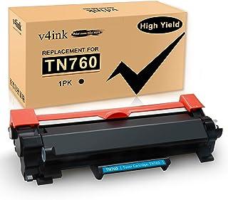 v4ink Compatible TN 760 Toner Cartridge Replacement for Brother TN760 TN730 (1 Pack Black Design V3)