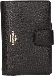 Coach F53436 Cross Grain Leather Medium Corner Zip Wallet and Coin Purse Black