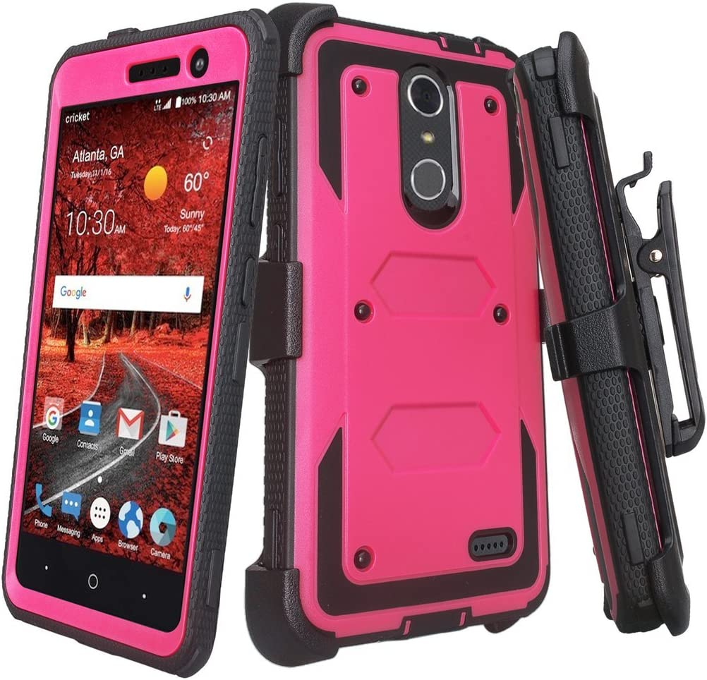 Galaxy Wireless Compatible for LG L413/L413DL/K10 2018/K30/Premier Pro LTE/Harmony 2/Phoenix Plus/LG K20v/LG K10/LG Grace Holster [Built in Screen Protector] Phone Cases Cover - Hot Pink