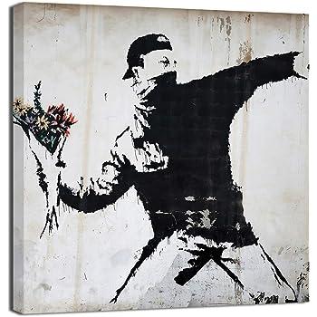 Quadro Ragazzo incontra ragazza Banksy Street Art XXL Immagini Murale Stampa su Tela Decorazione da Parete Pronte per lapplicazione 302114a