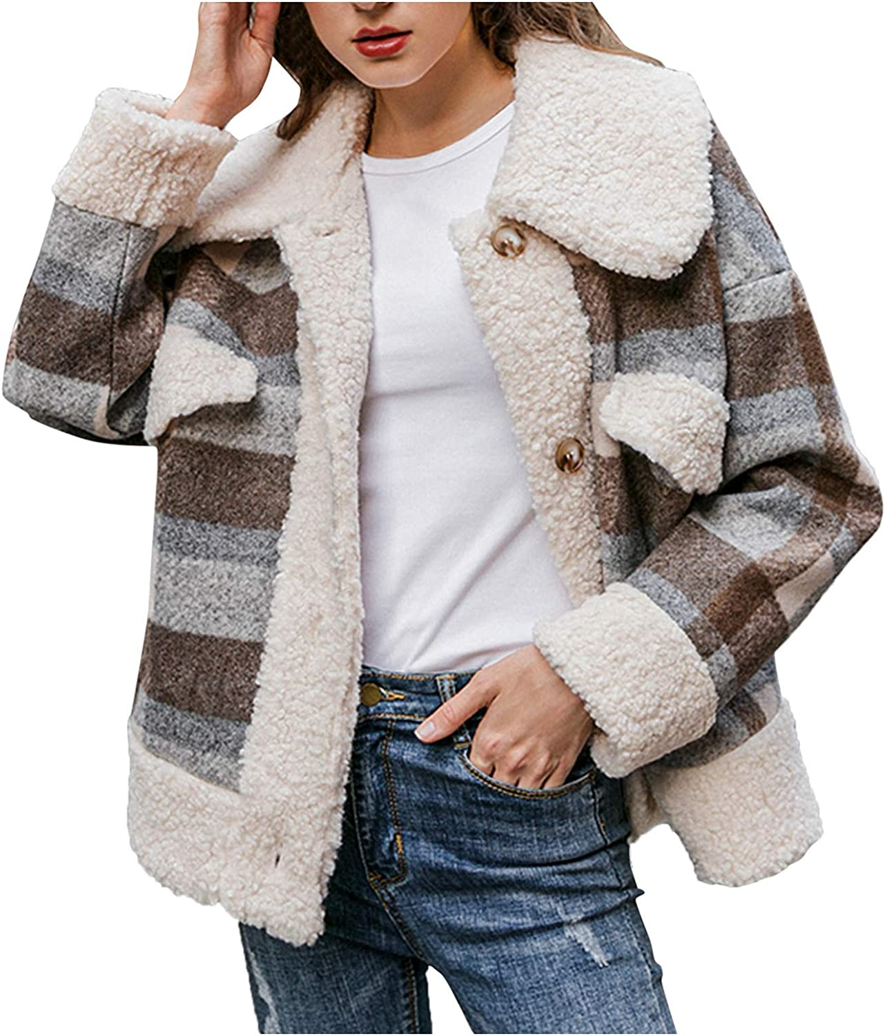 Forwelly Women Fall Winter Fuzzy Overcoat Classic Plaid Long Sleeve Cropped Jacket Casual Coat