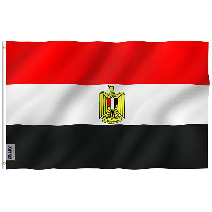 Anley Fly Breeze 3x5 Foot Egypt Flag - Vivid Color and UV Fade Resistant - Canvas Header and Double Stitched - Egyptian Flags Polyester with Brass Grommets 3 X 5 Ft
