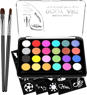 Face Paint Kit for Kids - 32 Stencils, 24 Large Water Based Paints, 2 Brushes, Professional Quality Face & Body Paint, Hypoallergenic Safe & Non-Toxic, Ideal for Halloween Party Face Painting
