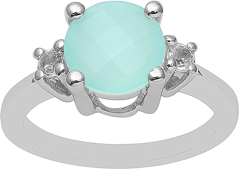 Aqua Chalcedony Gemstone Round Cut 925 Sterling Silver Women Wed