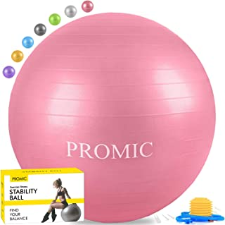 PROMIC Exercise Ball (45-85cm) with Quick Foot Pump, Professional Grade Anti Burst &..