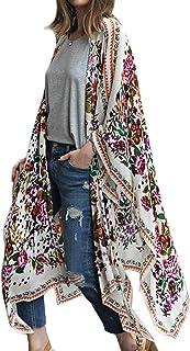 Kimono largo floral o estampado, de gasa, para playa, diseño boho, parte delantera abierta, holgada, blusa verano para mujer