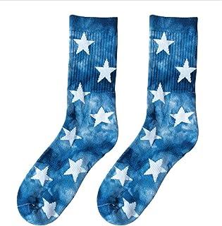 WT-DDJJK, WT-DDJJK Calcetín, Calcetines de algodón con Efecto teñido Anudado con Estrellas Calcetería para patineta de Baloncesto de Felpa cálida de Invierno Calcetería