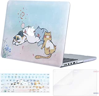 MOSISO Case Only Compatible with Older Version MacBook Pro Retina 13 inch (Model: A1502 & A1425)(Release 2015-end 2012),Plastic Pattern Hard Shell&Keyboard Cover&Screen Protector, Cute Cartoon Cat