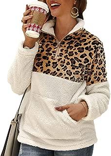 Women Leopard Print Patchwork Zip Up Sweatshirts Long Sleeve Fluffy Sherpa Fleece Pullover with Pockets