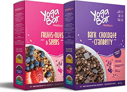 Yogabar Wholegrain Breakfast Muesli - Fruits, Nuts + Seeds + Dark Chocolate, 400g Each