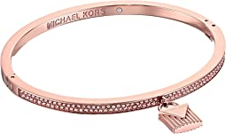 Michael Kors Logo Love Hinge Bracelet with Pave and Ridge Lock Charm