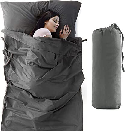 Bedsure Sleeping Bag Liner Camping Sheets Travel Sheets (100% Cotton, Oversize 83x45) Adults Travel Sleep Sack Lightweight for Hostel and Travel with Full Length Zipper