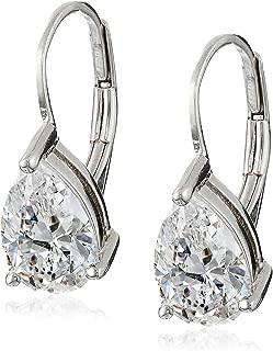 Sterling Silver Pear Cut Cubic Zirconia Leverback Earrings