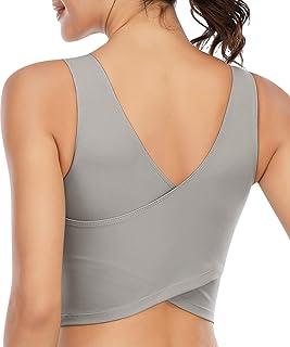 Longline Sports Bras for Women Workout Padded Sports Yoga Bra Tank Tops Crop Top