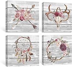 SUMGAR Boho Wall Art Bedroom Rustic Pink Flowers Pictures Farmhouse Decor Grey Bull Skull..
