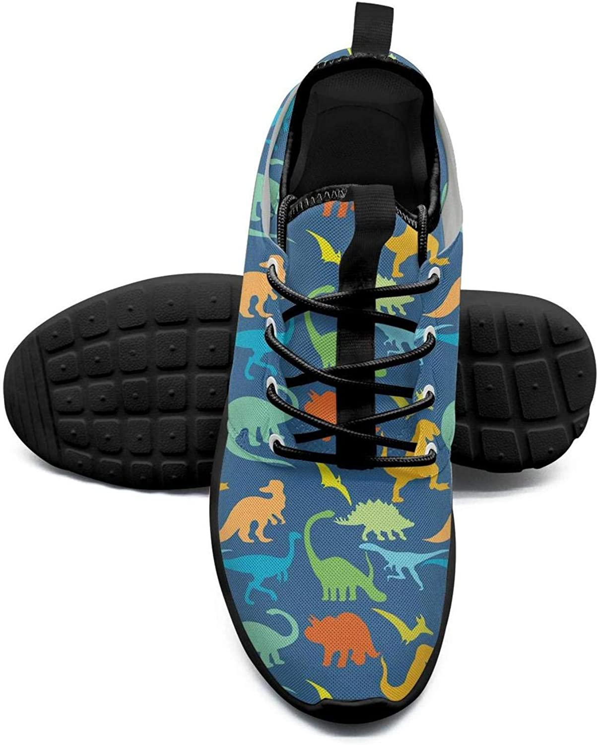 ERSER colorful Dinosaurs bluee Background Womens Running shoes Wide Width