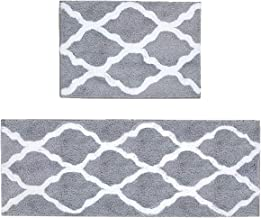 Pauwer Microfiber Bath Rug Set Non Slip Bath Mat 2 Piece Set for Bathroom Absorbent Rug Runner Machine Washable (18×26+18×...