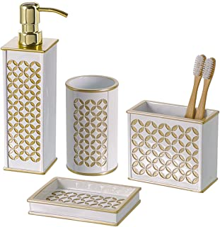 Creative Scents Diamond Lattice 4 Piece Bathroom Accessories Sets - Includes Decorative Lotion Dispenser, Dish, Tumbler, Toothbrush Holder - Gift Packaged(White - Gold)