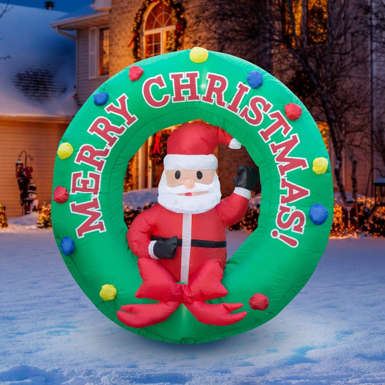 Holidayana 4 67% OFF of fixed price ft Dedication Christmas Inflatable Decoratio Santa Wreath Yard