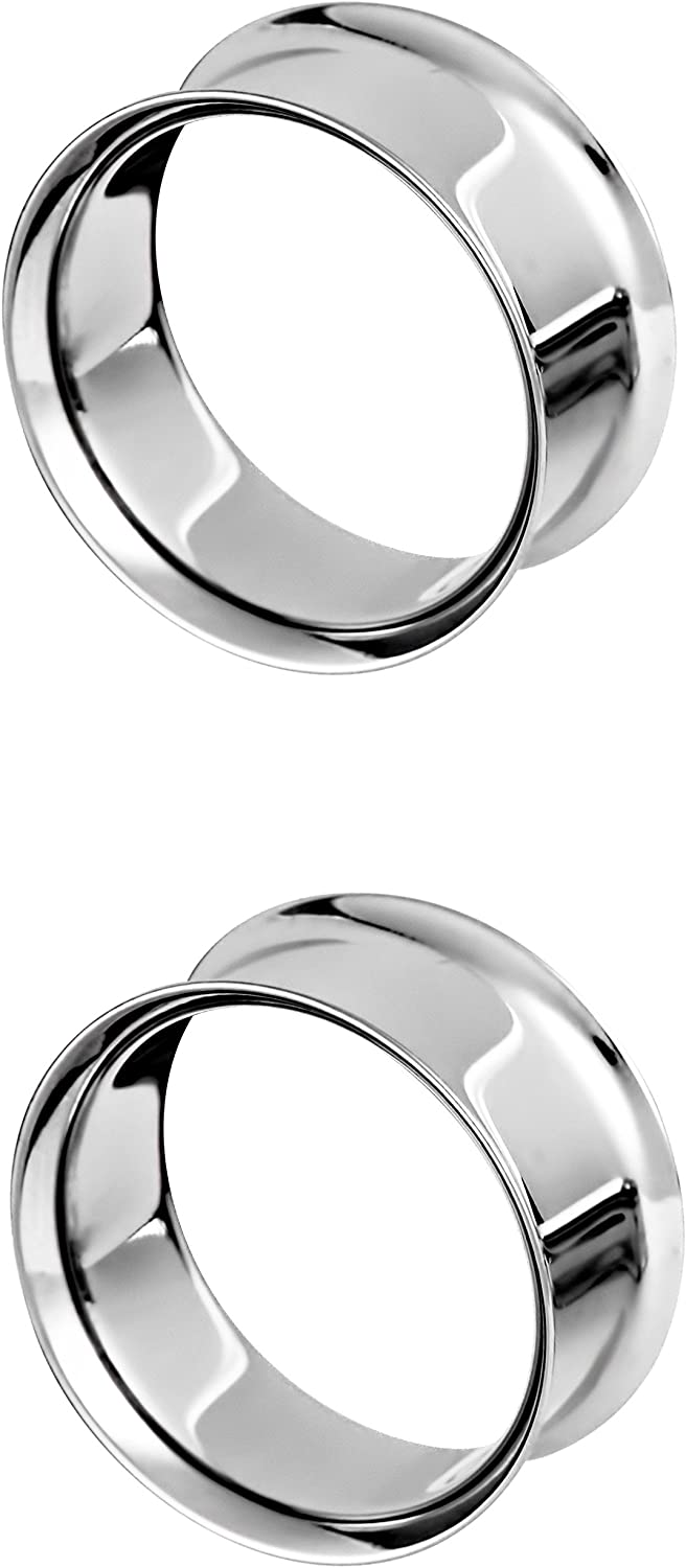 Forbidden Body Jewelry Surgical Steel Ear Gauges, Double Flared Saddle Tunnel Plug Earrings, 19mm - 25mm