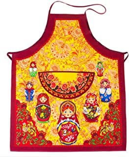 Tailor Company 100% Cotton Matryoshka Doll Apron for Women/Men Russian Matryoshka Doll Pattern Nesting Doll