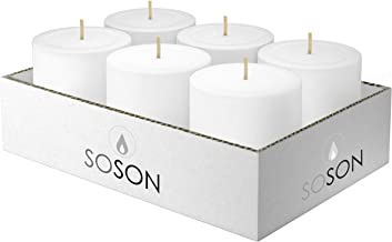 Simply Soson 3 x 3 Inch White Unscented Pillar Candle Bulk Set - Dripless, Scent Free Paraffin Wax Candle Pillars - Medium Size Wedding or Home No Drip Candles - 6 Pack