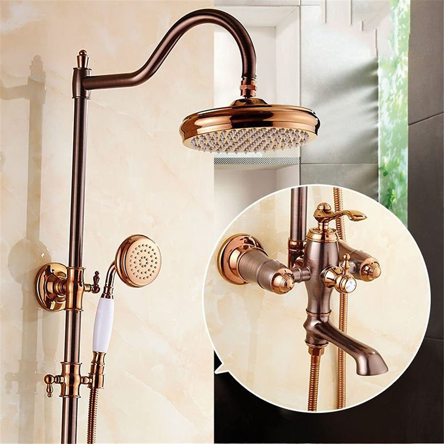 Gyps Faucet Basin Mixer Tap Waterfall Faucet Antique Bathroom Mixer Bar Mixer Shower Set Tap antique bathroom faucet Natural jade shower shower set pink gold brown antique-brass hot and cold shower fa