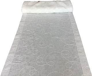 1,50 cm di larghezza-al metro Bianco Voile tessuti bordo con Quadrato Oro Alta Qualità