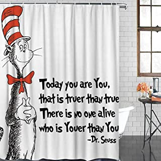Anzona Freehand Cat with Hat Dr. Seuss Durable Polyester Fabric Shower Curtains for Bathroom Standard 72'' x 72'', Waterproof Bathtub Curtains Set with Hooks