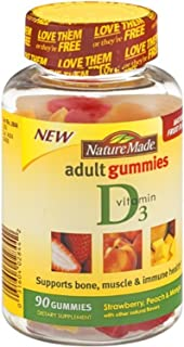 Nature Made Vitamin D 3 Adult Gummies Strawberry - Peach & Mango, 90 Gummies, 3 Count