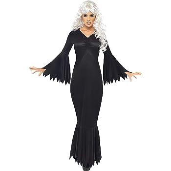 Smiffys Disfraz de vampiresa de Medianoche, Negro, con túnica ...