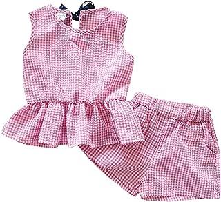 Fairy-Baby Kids Girls Summer Sleeveless Plaid Ruffle Tank Tee Tops+Shorts Set