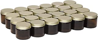 North Mountain Supply 2 Ounce Amber Glass Straight Sided Spice/Canning Jars - with 53mm Gold Metal Lids - Case of 24
