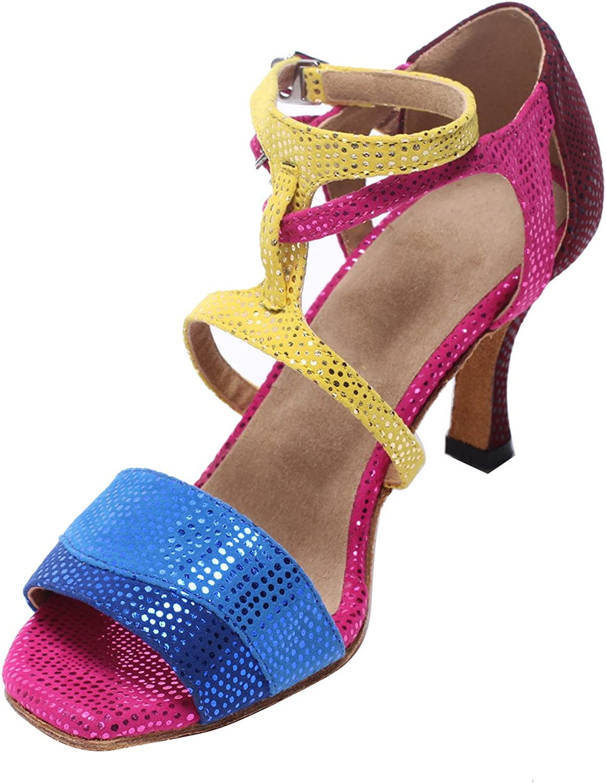 MsMushroom Woman's colorful Printed Velvet Latin Dance shoes 3  Heel
