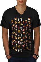wellcoda Snack Collection Art Mens V-Neck T-Shirt, Food Graphic Print Tee