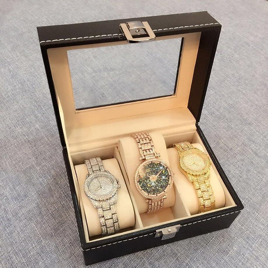 VALYRIA Watch Box Small 3 Mens Black Leather Display Glass Top Jewelry Case Organizer