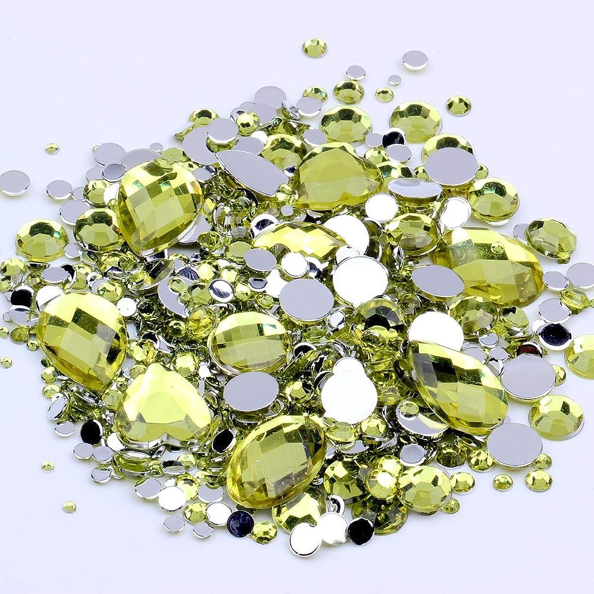 所属農場受ける混合サイズ1000ピース多くの色アクリル非修正フラットバックラインストーンネイルアート結婚式の服の装飾のための宝石(12 ライトイエロー)