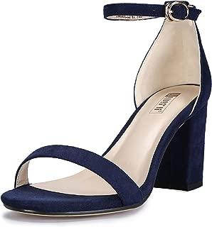 IDIFU Women's IN3 Cookie-MI Open Toe Mid Heel Chunky Block Ankle Strap Dress Sandals