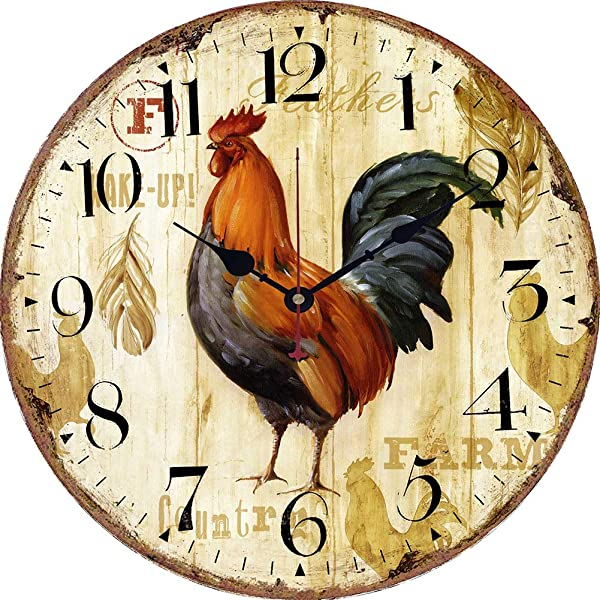 Yesee Wall Clock Non Ticking Battery Operated Large Wooden Wall Clock Decorative For Kitchen Bedroom Living Room No Cover 14 Inch Rooster