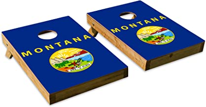Montana State Flag DesignCornhole/Bean Bag Toss Board Set – Made in USA Wood - 2'x3' Tailgate Size - Includes 8 Corn-Filled Bean Bags