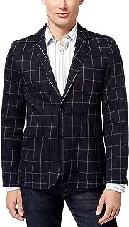 Men's Long Sleeve Plaid Blazer Masters Navy Large