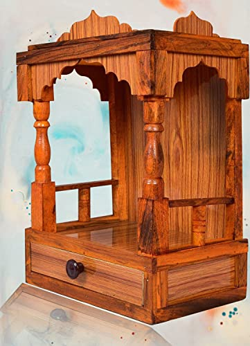 UFH Temple Engineered Wooden Temple for Home Indian Art Work Wooden Temple mandeer