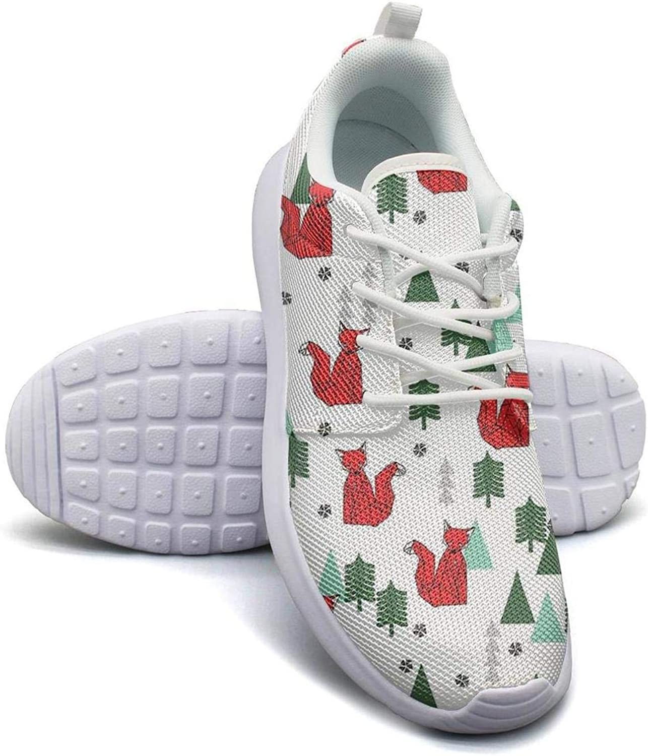 Gjsonmv Cute Christmas Fox mesh Lightweight shoes for Women Summer Sports Basketball Sneakers shoes