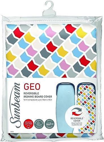 Sunbeam Ironing Board Cover | Reversible EasyGlide & Geo Print | 10mm Felt Padding | 100% Cotton | Machine Washable |...