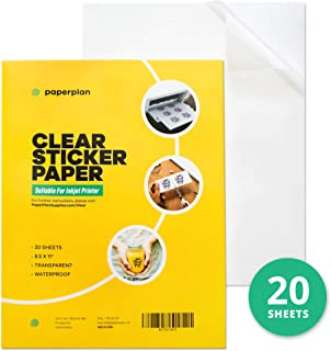 Clear Sticker Paper for Inkjet Printer 8.5 x 11 (20 Sheets) - Printable Sheets Matte - DIY Personalized Stickers for Murals, Decals, Labels - Durable, Weatherproof - Self Adhesive // Paper Plan