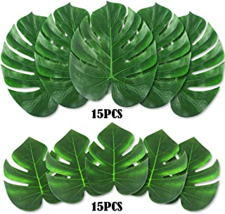 """OUTUXED 30PCS Tropical Leaves (14"""" and 8"""") Palm Leaves Imitation Plant Leaves, Hawaiian Jungle Beach Party Decorations Summer Flowers"""